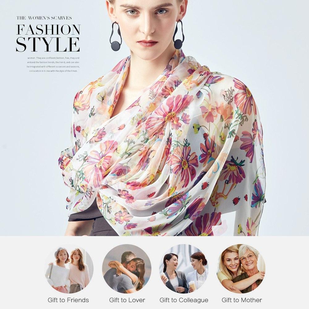 Tangoos 2019 Summer Silk Scarf Women Print Shawls Fashion Floral Bandana  Hijab Big Size